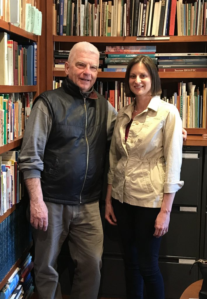 Professor Paul Robert Magocsi and me, February 28, 2018, in the Carpatho-Ruthenica Library at the University of Toronto