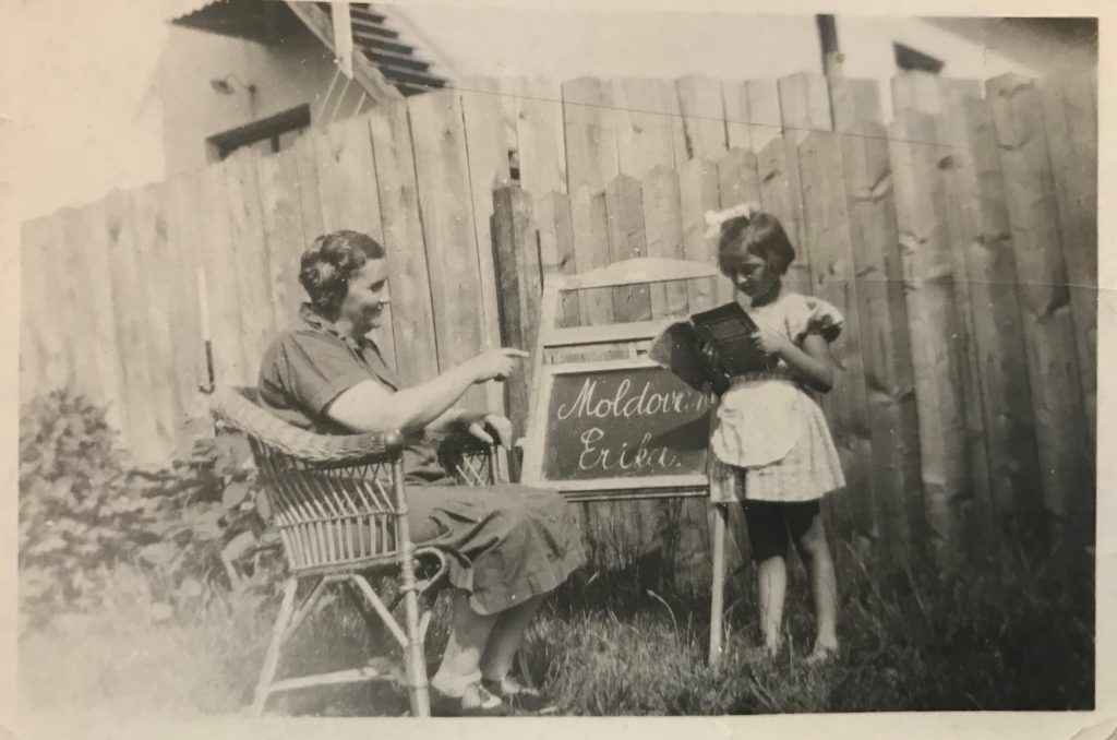 Rosa Moldovan, my great grandmother, teaches my aunt, Erika Goldberger, at home on a chalk board. Jewish students were barred from school during the Nazi regime.